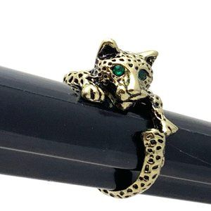 Jewelry - Leopard Ring, Green Eyed Cat Wrap Around Gold Tone